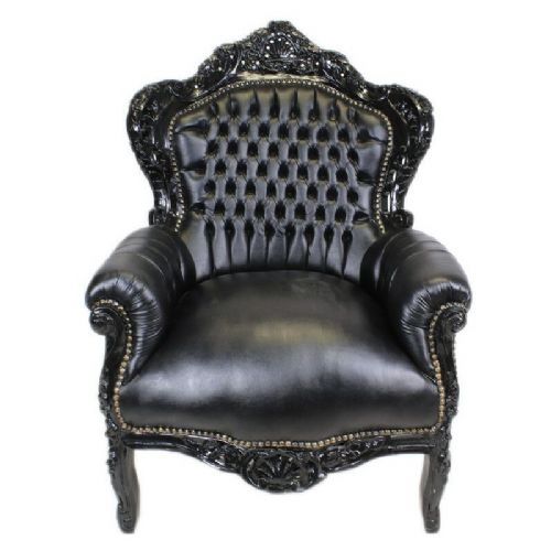 ARMCHAIR - BAROQUE STYLE ARMCHAIR BLACK & BLACK FAUX LEATHER # F30MB140